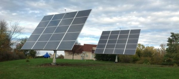 Two AllSun Trackers manufactured by AllEarth Renewables at a home in Alburgh. AllEarth Renewables photo