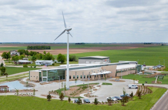 The hospital in Greensburg, Kansas, has its own turbine, one of fifteen in the city.