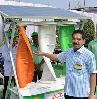 Hybrid renewable home power generation using solar panels and wind turbines. Photo: C.V. Subrahmanyam