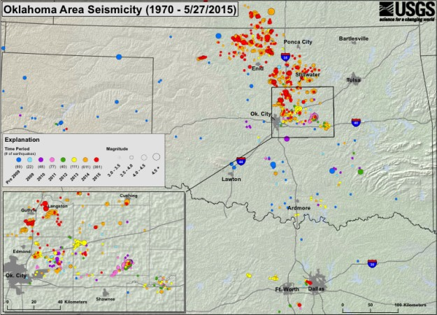 Seismicity Map - 1970 to May 27, 2015