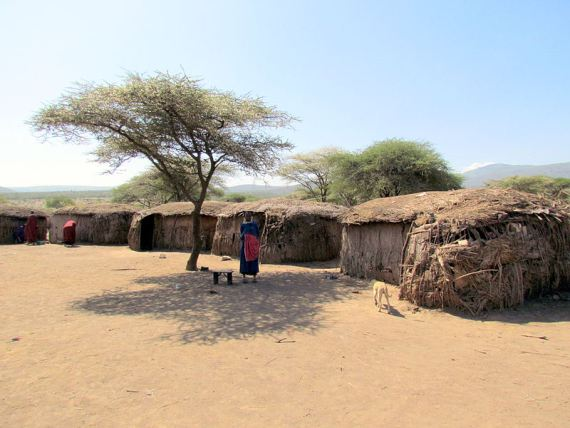 Massai village in Tanzania. Photo by David Berkowitz. Wikimedia Commons.