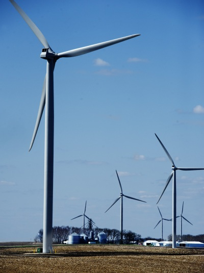 Wind generators on a wind farm near Hartland, Minn. Minnesota. Photo by David Brewster.