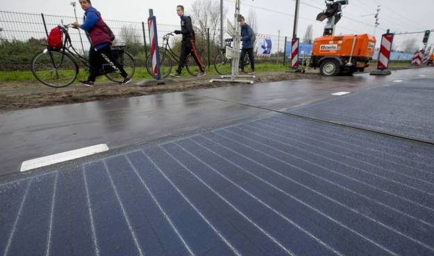 Solar roadways in the Netherlands. Source: Peter Dejong/AP