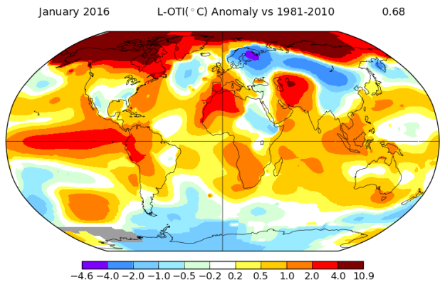 NASA's plot of global temperature anomalies for January 2016. Credit: NASA GISS