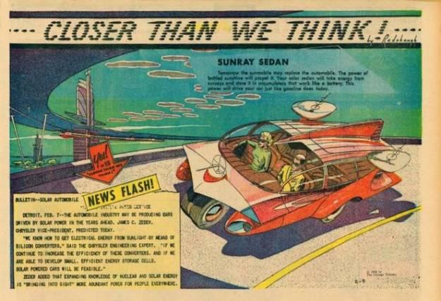 One day, cars will be powered by the sun. Image via Paleofuture / Arthur Radebaugh
