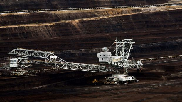 A giant dredging machine at work in the brown coal mine at Loy Yang in the Latrobe Valley. Photo: John Woudstra