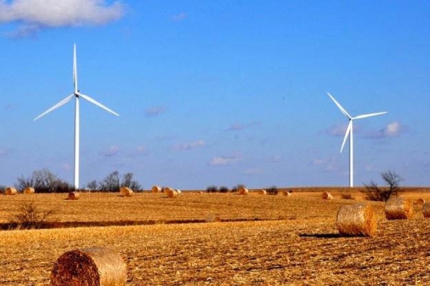 Wind turbines on prairie, courtesy of Theodore Scott, via Flickr