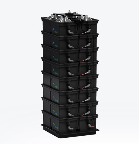 The battery systemin Salinas would consist of about 6400 Aquionbatteries. Each occupies slightly more than one square foot of floor space. Image credit Aquion