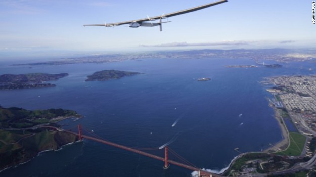 Solar Impulse 2 flew holding patterns for some hours above San Francisco before landing.