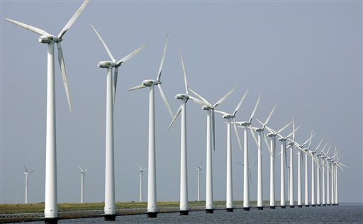 Offshore wind farm. in Dronten, the Netherlands. AP Photo / Peter Dejong