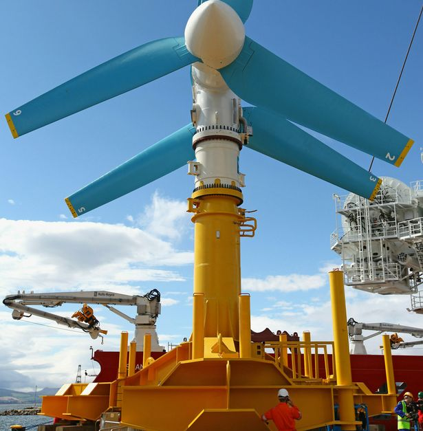 The AK-1000 tidal energy turbine is prepared to be loaded onto a barge