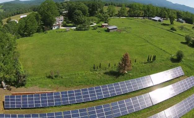 Aerial view of Boardman Hill Solar Farm in Rutland, Vermont.