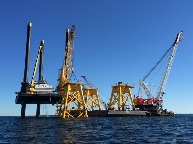 Construction at the Block Island wind farm site (Deepwater Wind)