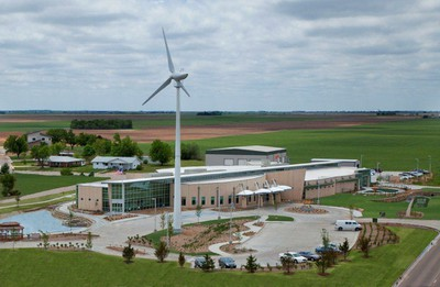 Kiowa County Memorial Hospital has its own wind turbine. Photo courtesy of the City of Greensburg, Kansas.