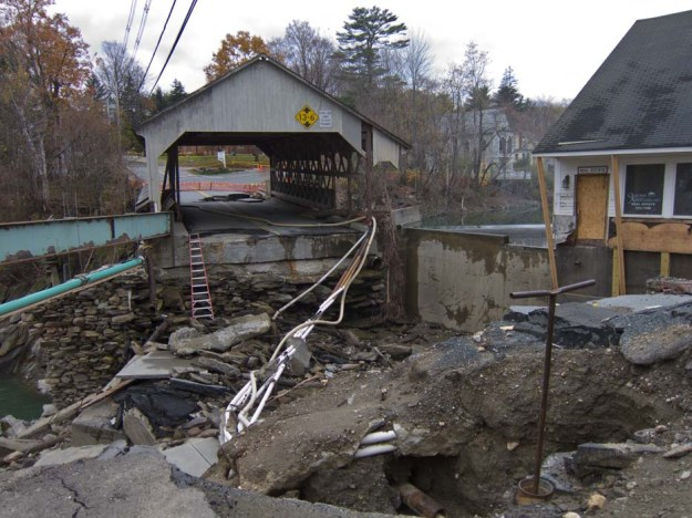 Damage caused by flood waters from Tropical Storm Irene (2011-08-28) on the Ottauquechee River in Quechee, Vermont. Photo by Stephen Flanders. CC BY-SA 3.0 unported. Wikimedia Commons.