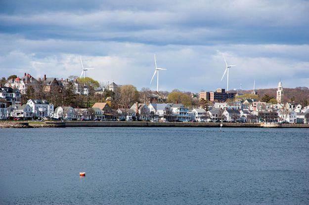 Wind turbines in Gloucester, Massachusetts. Photo by Fletcher6. CC BY 3.0. Wikimedia Commons.