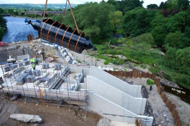 One of the two huge Archimedes screws being installed at Otley Weir.