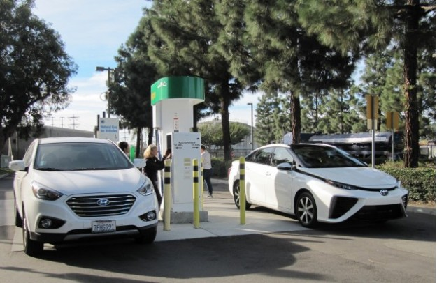 Hydrogen fuel cell cars fueling, Fountain Valley, California.