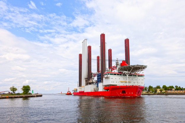 Specialist ships are needed to build offshore wind turbines. Nightman1965 / shutterstock.