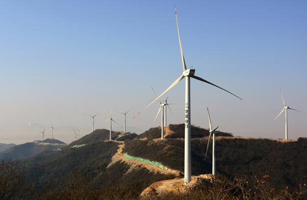 Wind farm in Zhoushan, Zhejiang province. (Photo/China Daily)