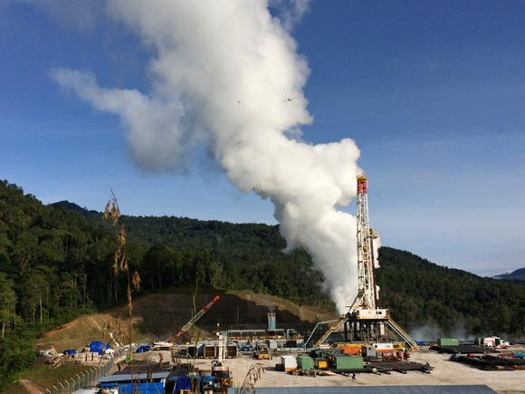 Geothermal plant releasing steam