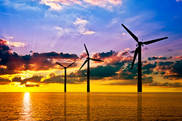 Wind turbines silhouetted at sunset (Photo: Bureau of Ocean Energy Management)