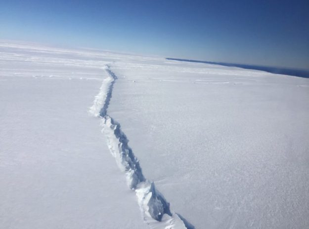 Rift in Antarctic glacier, twenty miles from the sea