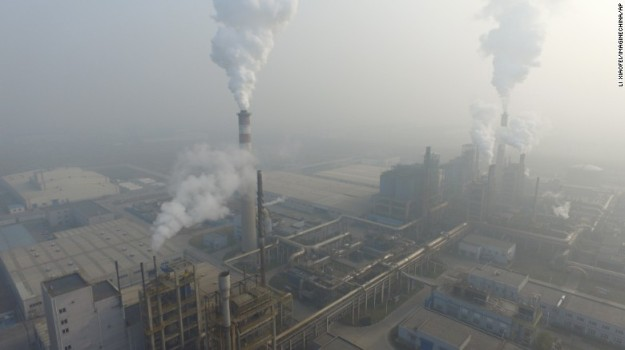 Smoke rising from a factory in Tianjin
