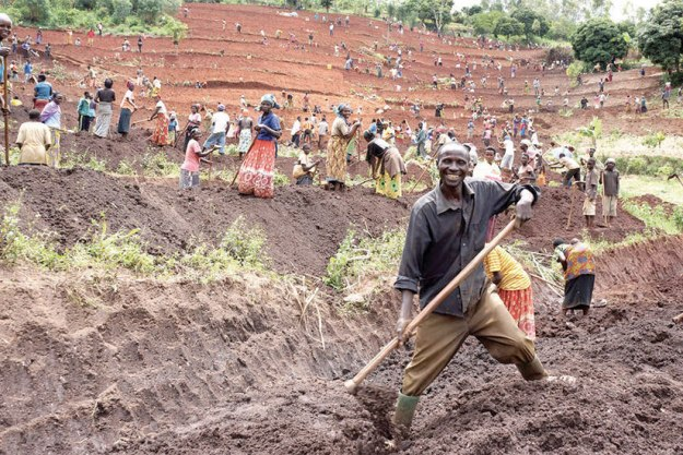 The Akanyaru Watershed Protection Project, building terraces and planting trees to prevent soil erosion and landslides (File photo)